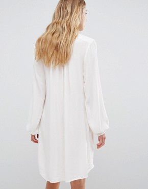 photo Long Sleeve Tunic Dress with Lace Insert by b.Young, color Off White - Image 2
