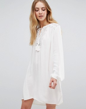 photo Long Sleeve Tunic Dress With Lace Insert by b.Young, color Off White - Image 1