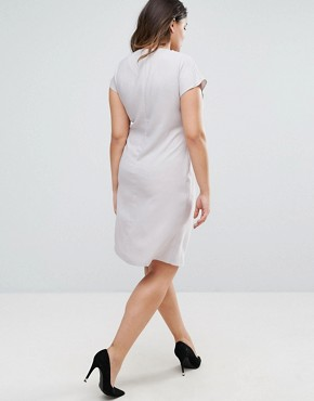photo Drape Front Pencil Dress with Elastic Detail by ASOS CURVE, color Grey - Image 2
