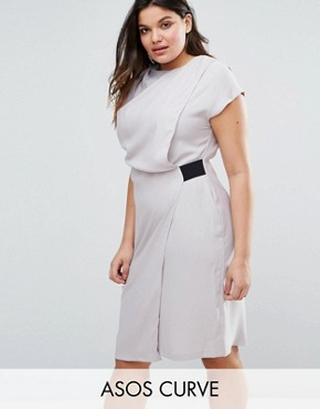 photo Drape Front Pencil Dress with Elastic Detail by ASOS CURVE, color Grey - Image 1
