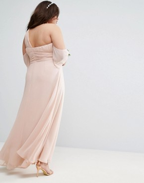 photo One Shoulder Maxi Dress by ASOS CURVE WEDDING, color Nude - Image 2