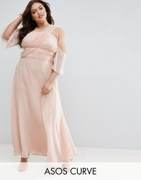 photo One Shoulder Maxi Dress by ASOS CURVE WEDDING, color Nude - Image 1