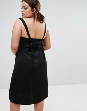 photo Plunge Neck Satin Slip Dress with Knot Detail by ASOS CURVE, color Black - Image 2