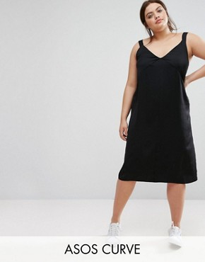 photo Plunge Neck Satin Slip Dress with Knot Detail by ASOS CURVE, color Black - Image 1