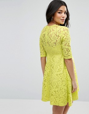 photo Skater Dress in Lace by ASOS Maternity, color Chartreuse - Image 2