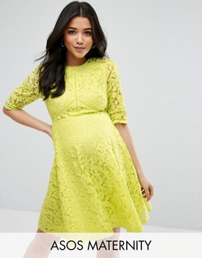 photo Skater Dress in Lace by ASOS Maternity, color Chartreuse - Image 1