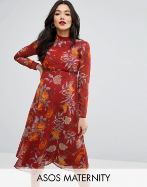 photo Midi Dress in Botanical Floral with Open Back by ASOS Maternity, color Floral - Image 1