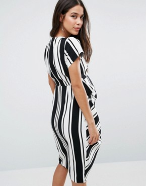 photo Dress in Stripe with Drape Front by ASOS Maternity, color Black/White - Image 2