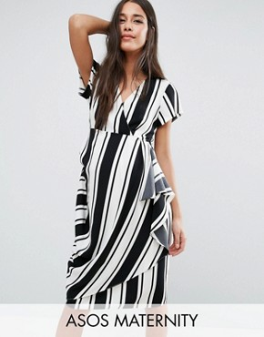 photo Dress in Stripe with Drape Front by ASOS Maternity, color Black/White - Image 1