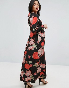 photo Maxi Dress with Long Sleeve in Floral Print by ASOS Maternity, color Floral Print - Image 2