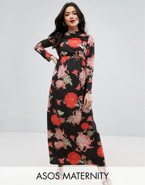 photo Maxi Dress with Long Sleeve in Floral Print by ASOS Maternity, color Floral Print - Image 1
