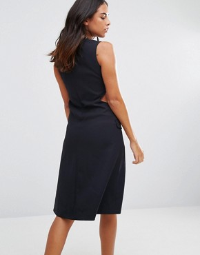 photo Cut Away Sides Fitted Dress by YMC, color Navy - Image 2