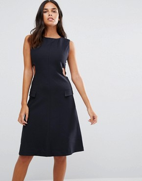 photo Cut Away Sides Fitted Dress by YMC, color Navy - Image 1