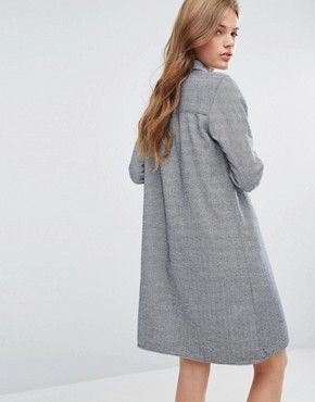 photo Chambray Shirt Dress by YMC, color Navy/White Herringbo - Image 2