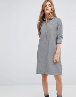 photo Chambray Shirt Dress by YMC, color Navy/White Herringbo - Image 1