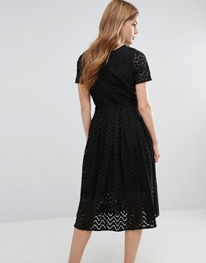 photo Zig Zag Sheer A Line Midi Dress by YMC, color Black - Image 2