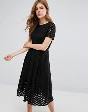 photo Zig Zag Sheer A Line Midi Dress by YMC, color Black - Image 1