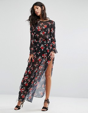 photo Floral Maxi Dress by Flynn Skye, color Rose Cluster Chiffon - Image 1