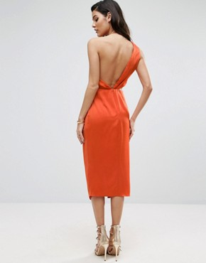 photo Cami Strap Twist Front Wrap Midi Dress by ASOS, color Orange - Image 2