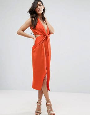 photo Cami Strap Twist Front Wrap Midi Dress by ASOS, color Orange - Image 1