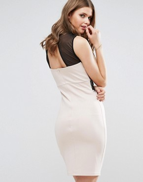 photo Midi Dress with Lace Top by Parisian Tall, color Cream/Black - Image 2