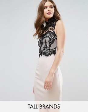 photo Midi Dress with Lace Top by Parisian Tall, color Cream/Black - Image 1