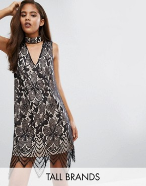 photo Lace Dress with Cut Out Neckline by Parisian Tall, color Black - Image 1