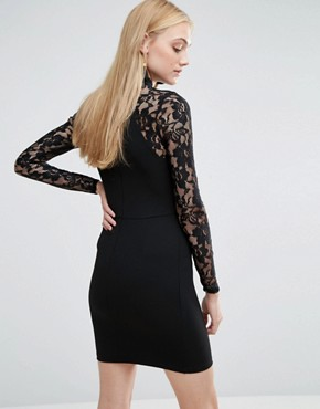 photo Dress with Cut Out Neckline and Lace Sleeves by Parisian Tall, color Black - Image 2