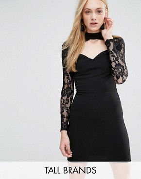 photo Dress with Cut Out Neckline and Lace Sleeves by Parisian Tall, color Black - Image 1