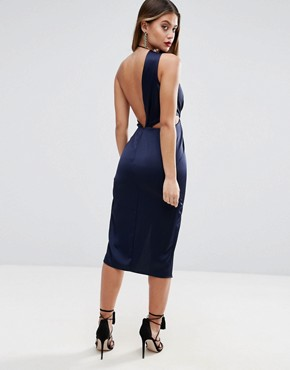 photo Cami Strap Twist Front Wrap Midi Dress by ASOS, color Navy - Image 2