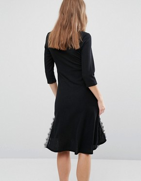 photo Ribbed Tea Dress with Side Lace Detail by Bluebelle Maternity, color Black - Image 2