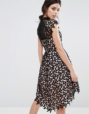 photo Cutwork Lace Prom Dress with High Low Hem by Chi Chi London Petite, color Black/Nude - Image 2