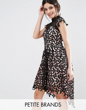 photo Cutwork Lace Prom Dress with High Low Hem by Chi Chi London Petite, color Black/Nude - Image 1