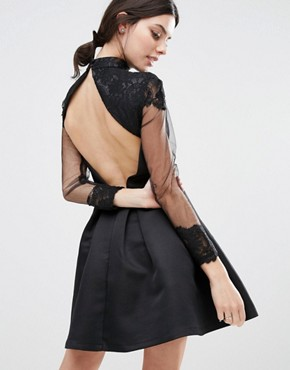photo High Neck Lace Bodice Long Sleeve Prom Dress by Chi Chi London Petite, color Black - Image 2