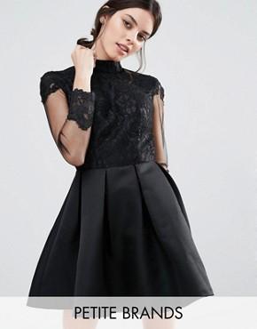 photo High Neck Lace Bodice Long Sleeve Prom Dress by Chi Chi London Petite, color Black - Image 1