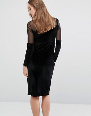 photo Velvet Bodycon Dress with Mesh Insert by Bluebelle Maternity, color Black - Image 2