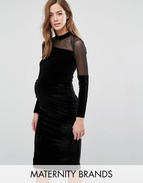 photo Velvet Bodycon Dress with Mesh Insert by Bluebelle Maternity, color Black - Image 1