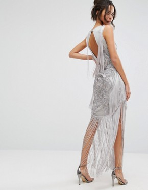 photo Maxi Dress with Placement Embellishment and Tassel Detail by A Star Is Born, color Grey - Image 2