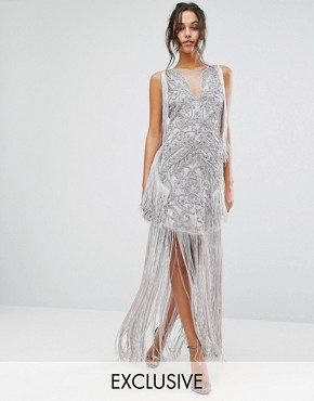 photo Maxi Dress with Placement Embellishment and Tassel Detail by A Star Is Born, color Grey - Image 1