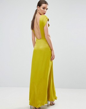 photo Open Square Back Maxi Dress by ASOS, color Yellow - Image 1