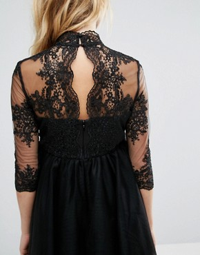 photo Prom Dress with Embroidered Bodice and Sheer Sleeves by Chi Chi London Maternity, color Black - Image 2