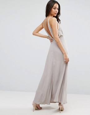photo Lace Insert Cami Wrap Maxi Dress by ASOS, color Grey - Image 2