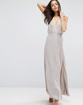 photo Lace Insert Cami Wrap Maxi Dress by ASOS, color Grey - Image 1