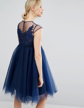 photo Embroidered Prom Dress with Button Detail and Cap Sleeve by Chi Chi London Maternity, color Navy - Image 2