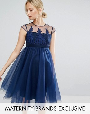 photo Embroidered Prom Dress with Button Detail and Cap Sleeve by Chi Chi London Maternity, color Navy - Image 1