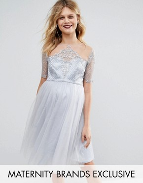 photo Sequin Embellished Bodice Prom Dress by Chi Chi London Maternity, color Silver - Image 1