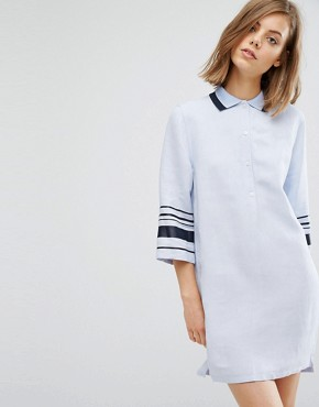 photo Caitlin Stripe Arm Shirt Dress by Wood Wood, color Kentucky Blue - Image 1