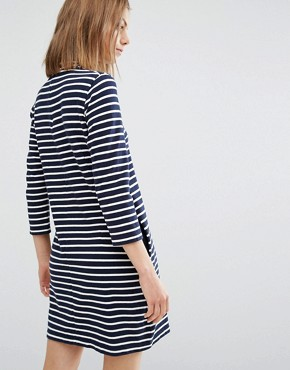 photo Mary Stripe Dress by Wood Wood, color Navy/Off White - Image 2
