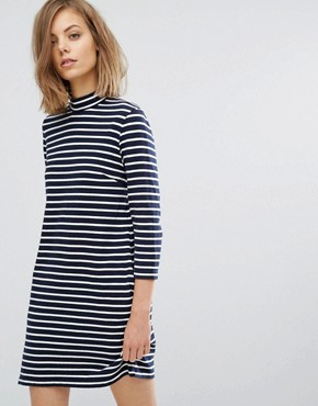 photo Mary Stripe Dress by Wood Wood, color Navy/Off White - Image 1