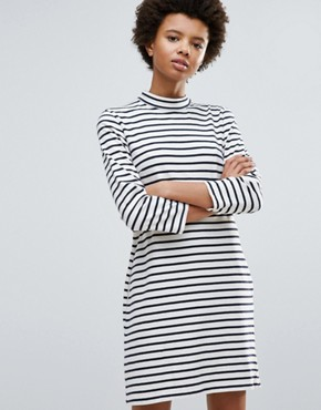photo Mary Stripe Dress by Wood Wood, color Off White/Navy - Image 1